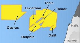 Kartan visar bl.a. Tamars gasfält